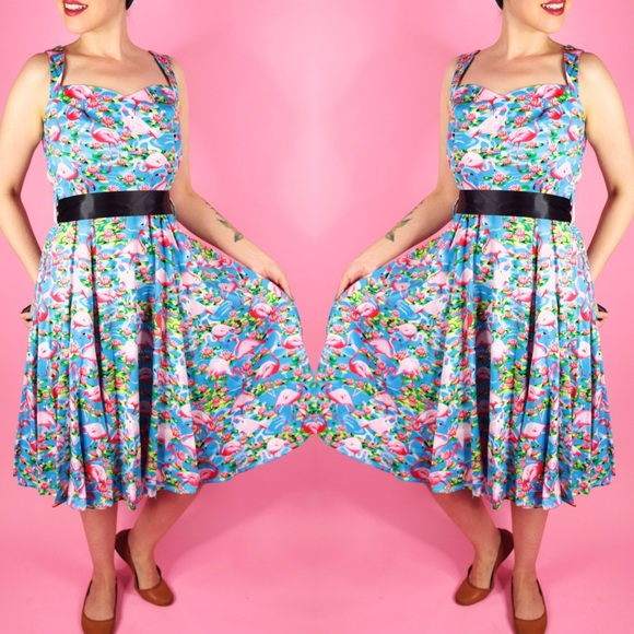 hearts and roses Dresses & Skirts - Flamingo Print Vintage Style Dress